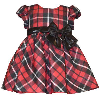 Bonnie Jean Short Sleeve Plaid A-Line Dress - Baby Girls