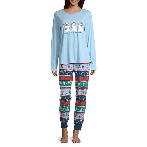 North Pole Trading Co. Fun Fairisle Family Womens-Petite Pant Pajama Set Long Sleeve