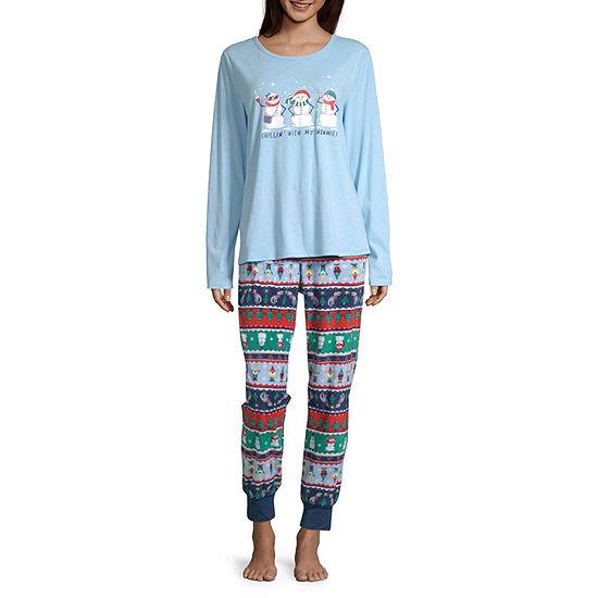 North Pole Trading Co. Fun Fairisle Family Womens-Petite Pant Pajama Set Long Sleeve
