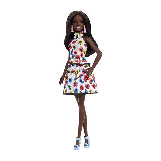 Barbie Fashionista Doll Tall With Long Brunette Hair And Floral Dress