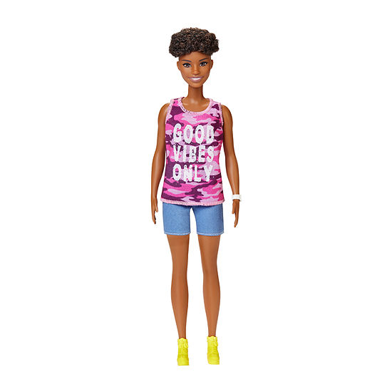 """Barbie Fashionista Doll With Short Curly Brunette Hiar And """"Good Vibes Only"""" Camo Tank And Shorts"""""""
