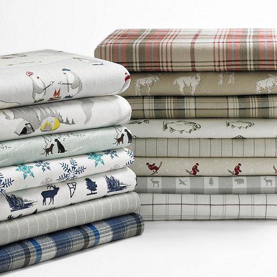 Eddie Bauer® Tossed Snowflake Easy Care Flannel Sheet Set