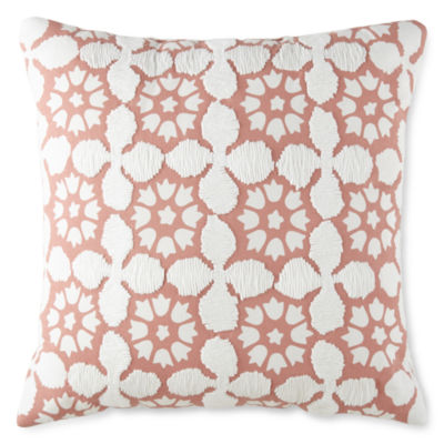 JCPenney Home Coral Tile Square Throw Pillow