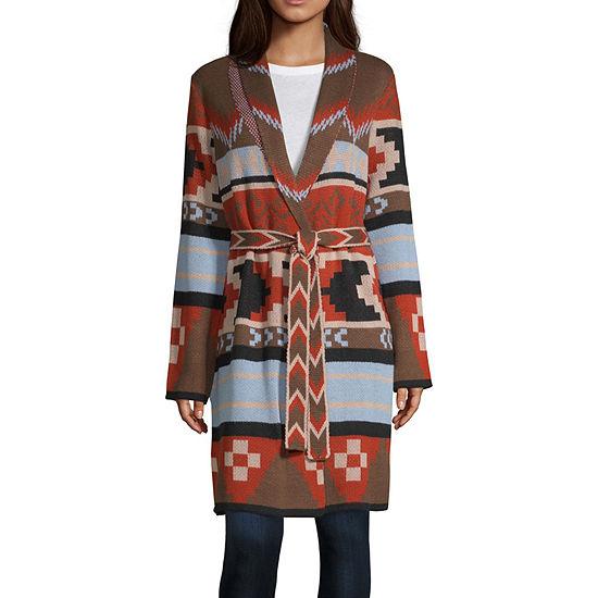 a.n.a Womens V Neck Long Sleeve Geometric Cardigan