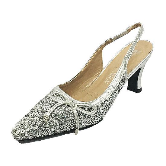 Whittall & Shon Womens Bugle Bead Sling Back Closed    Toe Cone Heel Pumps