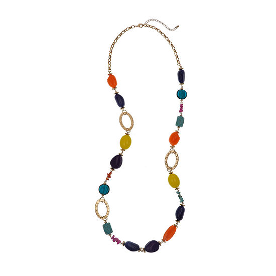 EL by Erica Lyons Gold Havana Nights Multi Color 40 Inch Cable Round Beaded Necklace