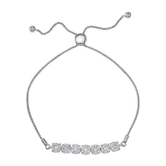 1 CT. T.W. Genuine White Diamond 10K White Gold Bolo Bracelet