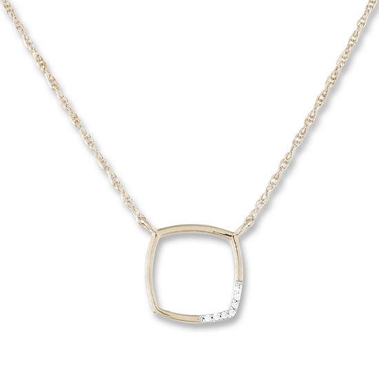 Womens Diamond Accent Genuine White 10K Gold Pendant Necklace