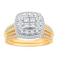 Deals on Women's 1 CT TW Genuine White Diamond 10K Gold Bridal Set