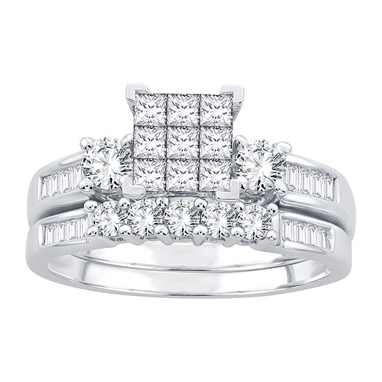 Womens 1 CT. T.W. Genuine White Diamond 10K White Gold Bridal Set