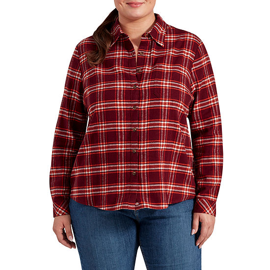 Dickies-Plus Womens Long Sleeve Button-Front Shirt