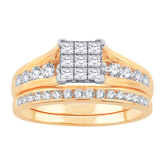 Womens 1 CT. T.W. Genuine White Diamond 10K Gold Bridal Set