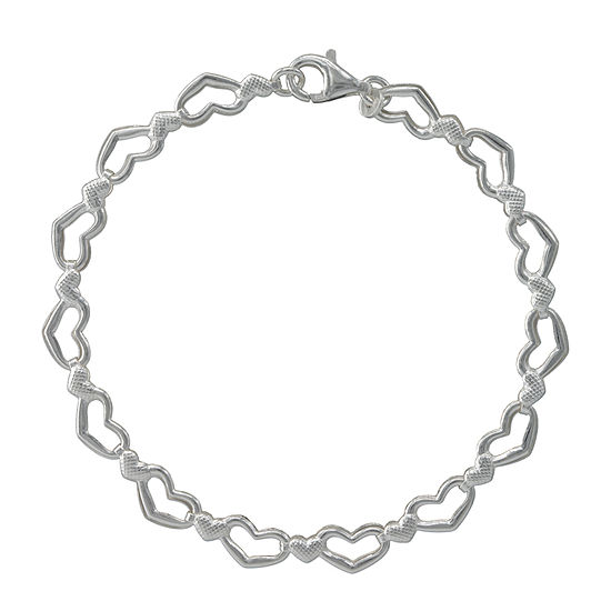 Made in Italy Sterling Silver 7.5 Inch Solid Stampato Link Bracelet