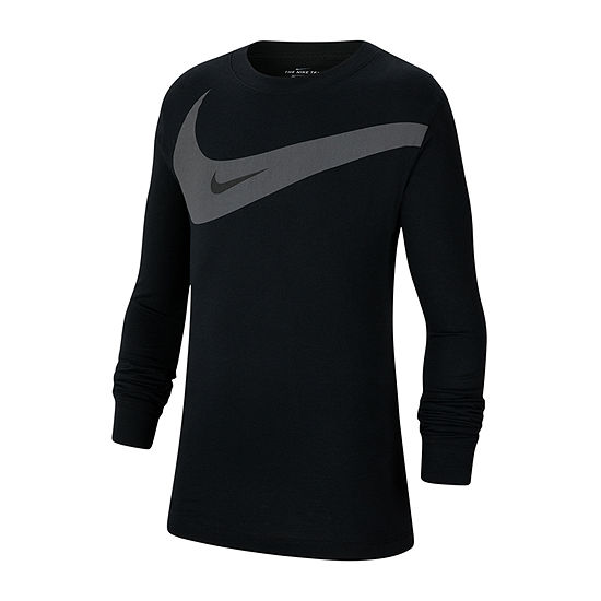 Nike Boys Crew Neck Long Sleeve Graphic T-Shirt - Big Kid