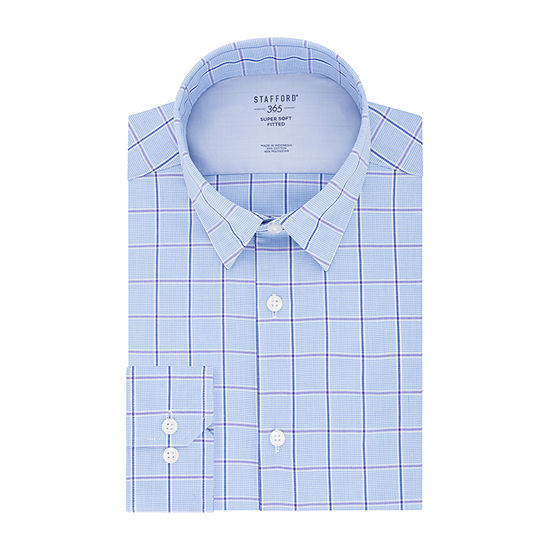Stafford Fitted Stay Put Collar Mens Button Down Collar Long Sleeve Stretch Dress Shirt