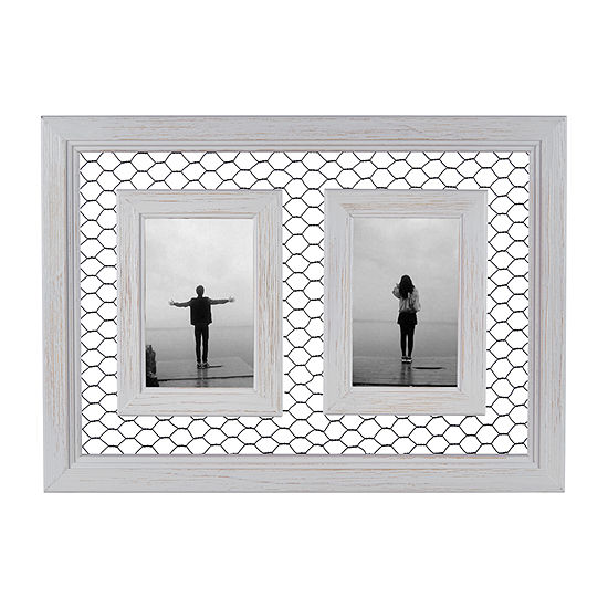 Danya B Double Chicken Wire Whitewash Wood  - 4x6 2-Opening Wall Frame
