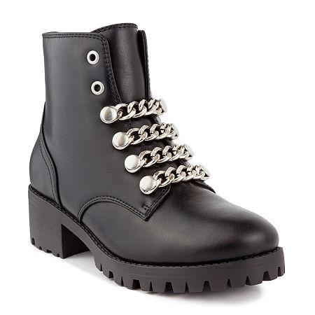 Sugar Womens Obvi Stacked Heel Booties, 6 Medium, Black