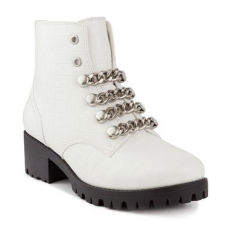 Sugar Womens Obvi Stacked Heel Booties, 6 Medium, White