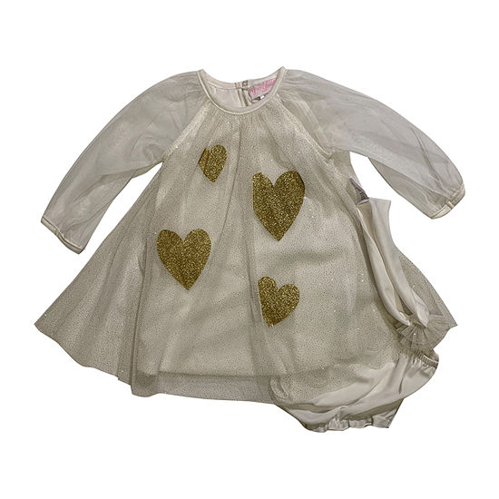 Youngland Baby Girls 3-pc. Long Sleeve Hearts A-Line Dress