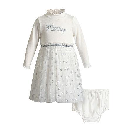 Youngland Baby Girls Long Sleeve Empire Waist Dress, Newborn-3 Months , White