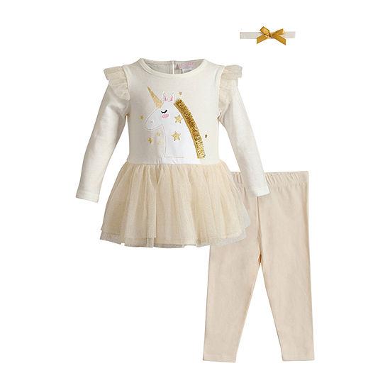 Youngland Baby Girls Long Sleeve 2-pc. Dress Set