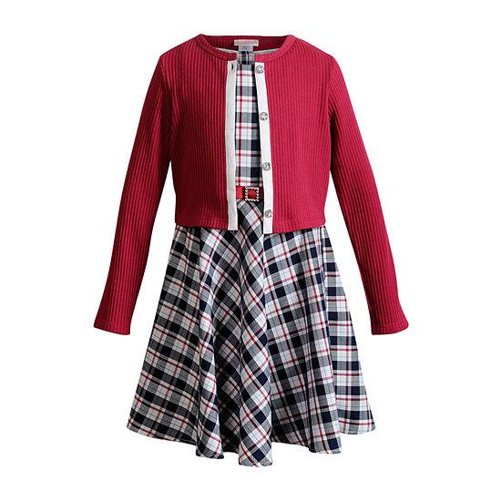 Youngland Cardigan Little Girls Sleeveless Dress Set