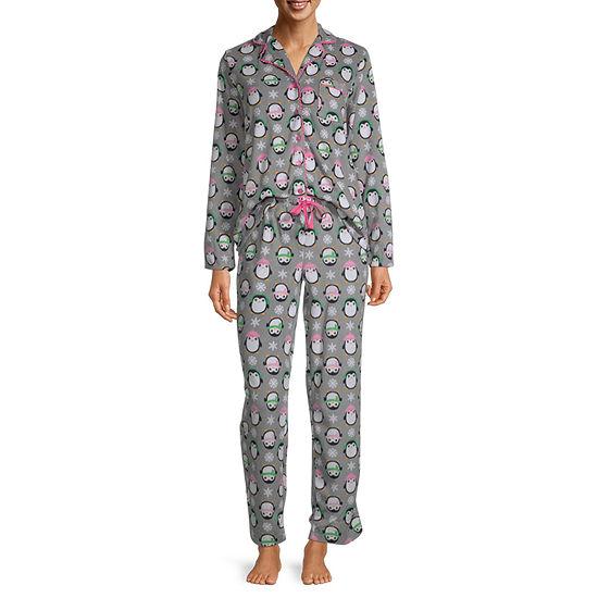 Pillow Talk By Rene Rofe Womens Pant Pajama Set 2-pc. Long Sleeve