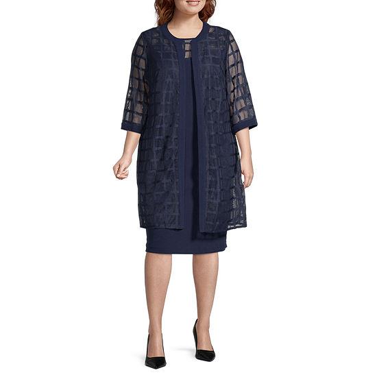 Maya Brooke-Plus 3/4 Sleeve Windowpane Lace Jacket Dress