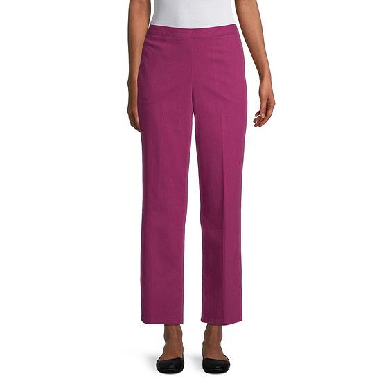 Alfred Dunner-Petite Panama City Womens Straight Flat Front Pant