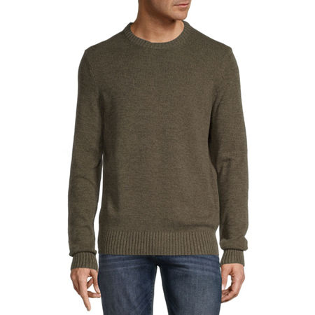 St. John's Bay Crew Neck Long Sleeve Chunky Knit Sweater, Small , Green