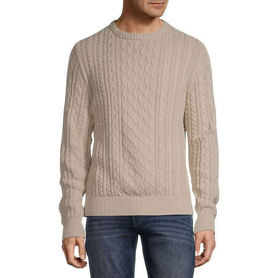 St. John's Bay Crew Neck Long Sleeve Fisherman Knit Sweater