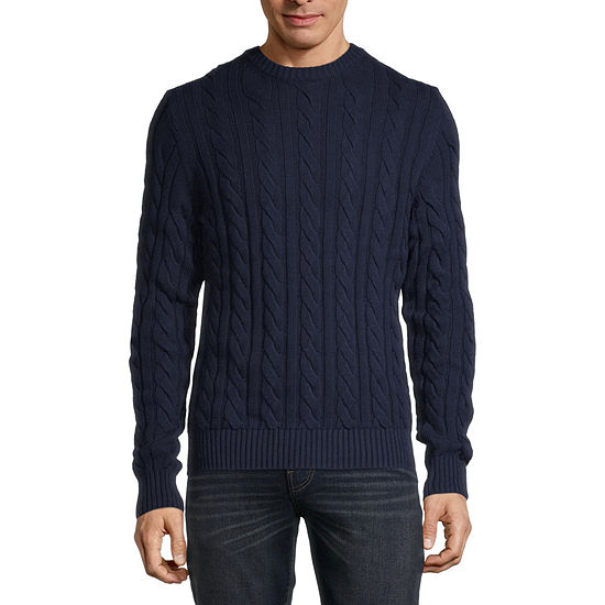 St. John's Bay Crew Neck Long Sleeve Cable-Knit Sweater