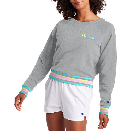70s Workout Clothes   80s Tracksuits, Running Shorts, Leotards Champion Womens Crew Neck Long Sleeve Sweatshirt X-large  Gray $35.69 AT vintagedancer.com