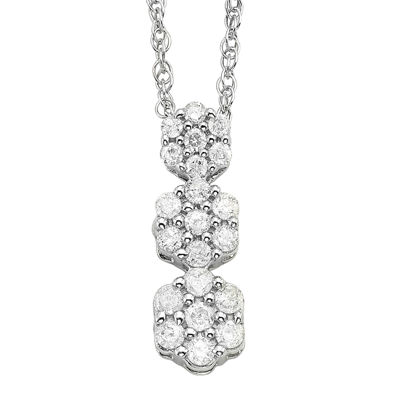 diamond blossom 1/5 CT. T.W. Diamond 10K White Gold Flower Pendant Necklace