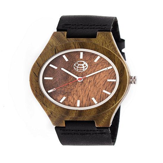 Earth Wood Unisex Black Leather Strap Watch-Ethew4104