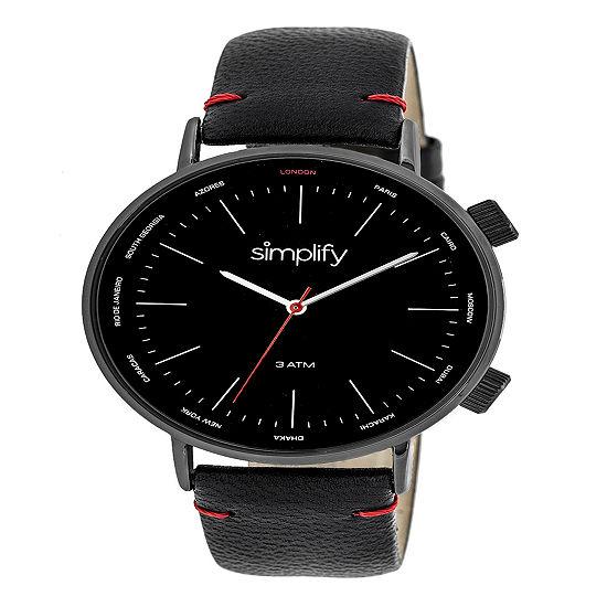 Simplify Mens Black Leather Strap Watch-Sim3306