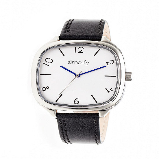Simplify Unisex Black Leather Strap Watch-Sim3501