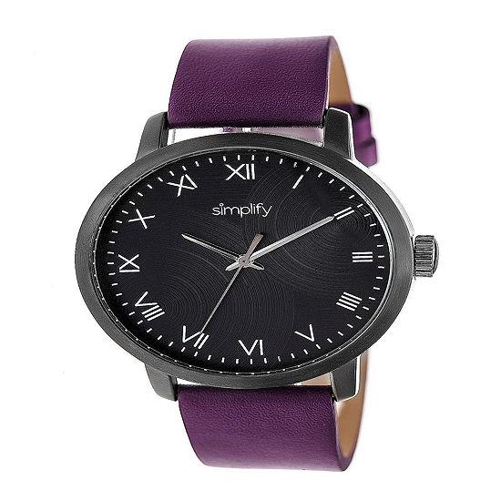 Simplify Unisex Purple Leather Strap Watch-Sim4207