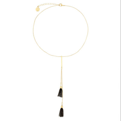 Liz Claiborne Goldtone Double Tassel Necklace