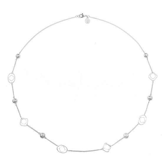 Liz Claiborne Silvertone Long Open Station Necklace