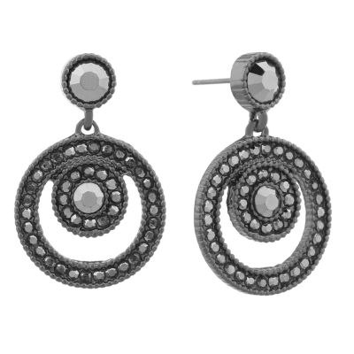 Liz Claiborne Gray and hematite Double  Drop Earrings