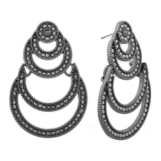 Liz Claiborne Gray Chandelier and Hematite  Earrings