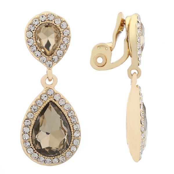 Monet Jewelry Clear Goldtone Large Drop Clip Earring