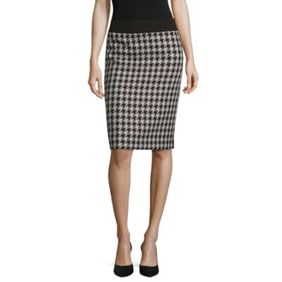 Black Label by Evan-Picone Houndstooth Suit Skirt