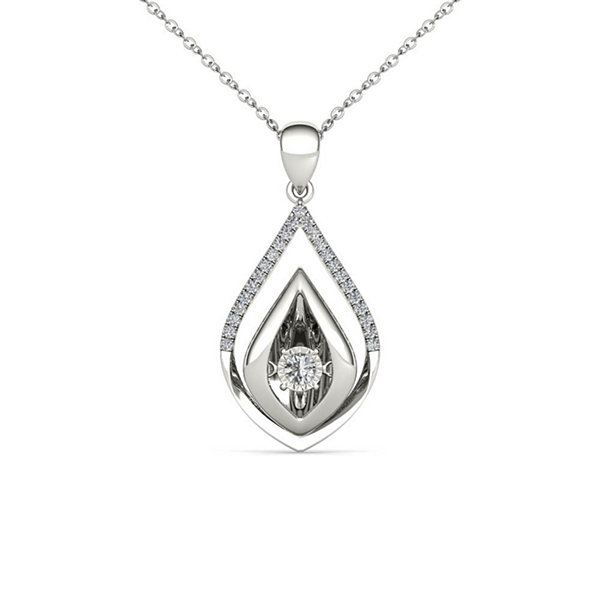 Love in Motion 1/7 CT. T.W. White Diamond Round 10K Gold Pendant