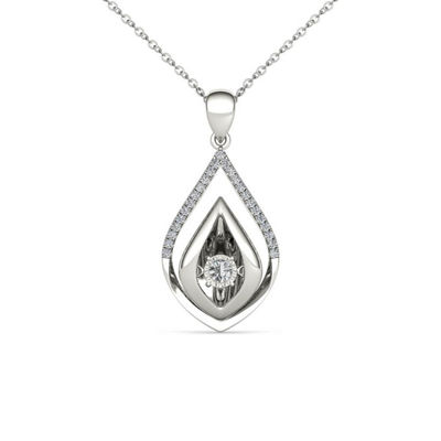 Love in Motion Womens 1/7 CT. T.W. Genuine White Diamond 10K Gold Pendant
