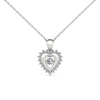 Love in Motion Womens 1/4 CT. T.W. Genuine White Diamond 10K Gold Pendant