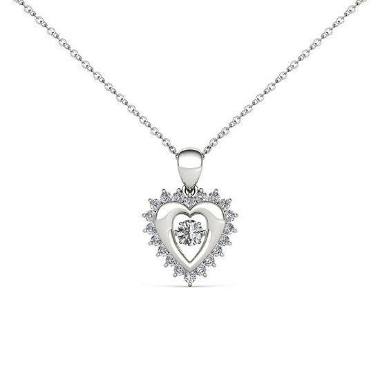 Love in Motion Womens 1/4 CT. T.W. Genuine White Diamond 10K Gold Pendant