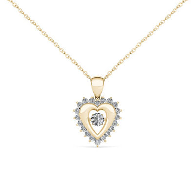 Love in Motion Womens 1/4 CT. T.W. Genuine White Diamond 10K Gold Heart Pendant