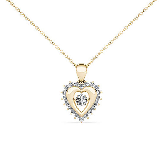 Love in Motion Womens 1/4 CT. T.W. Genuine White Diamond 10K Gold Heart Pendant